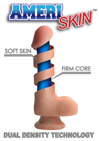 8 Inch Ultra Real Dual Layer Suction Cup Dildo - Medium Tone Skin - realistic enterprises llc