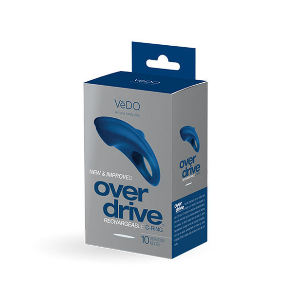 Over Drive Plus Rechargeable Cock Ring - Blue - RealisticDildos.com
