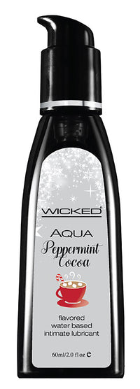 Aqua Peppermint Cocoa Flavored Water-Based Intimate Lubricant - 12 Piece Display 2 Oz. - realistic enterprises llc