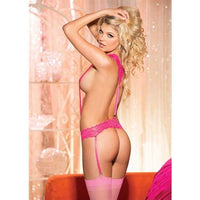 Barely Legal Stretch Lace Suspender Teddy - One Size - Hot Pink