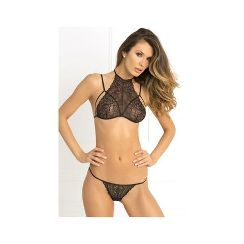 2 Pc Most Wanted Lace Bra and G-String Set - Medium-large - Black - RealisticDildos.com