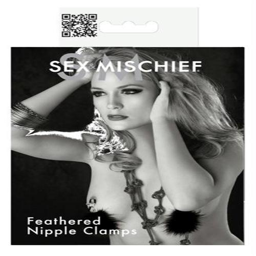 Sex and Mischief Feathered Nipple Clamps - realistic enterprises llc