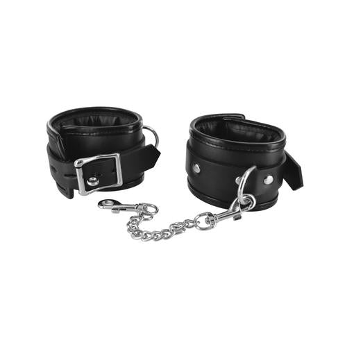 Locking Padded Wrist Cuffs W-chain - realistic enterprises llc