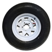 "14"" White Spoke Trailer Wheel ST205/75R14 Tire Mounted (5x4.5) Bolt Circle"