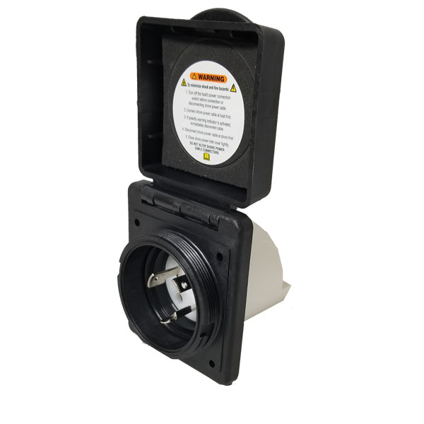 Marinco 301ELRV. Black 30 Amp Standard Power Inlet