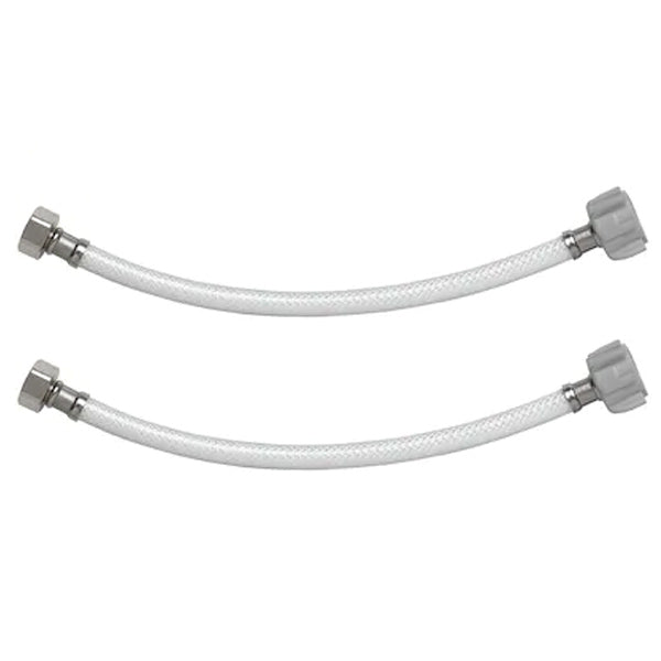 "2 Pack 12"" Faucet Connector 1/2"" FIP 1/2"" FIP PVC Supply Line"
