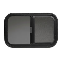 "ToughGrade Horizontal Sliding Black RV Window 24"" X 20"" X 1 1/2"" Includes Mounting Ring and Screen"