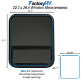 "ToughGrade Vertical Sliding Black RV window 22.2"" X 26.4"" X 2"" with Includes Mounting Ring and Screen"