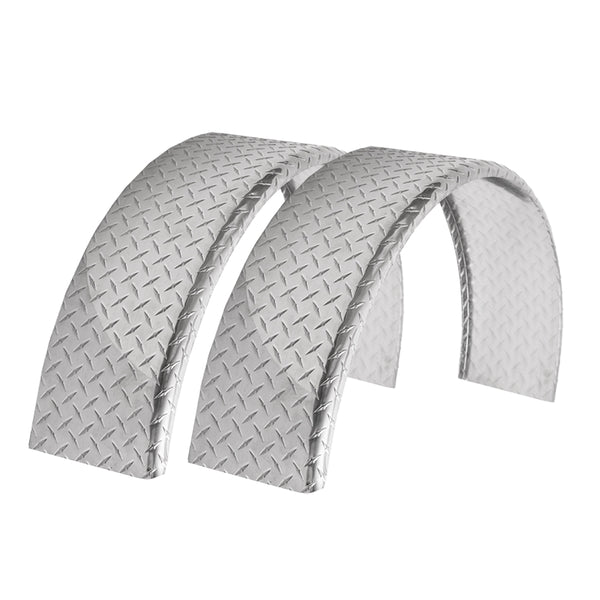 "2-Pack Aluminum Diamond Plate Round Top Trailer Fender 8"" X 34"" X 17"""