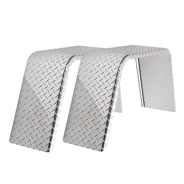 "2-Pack Aluminum Diamond Plate Flat Top Trailer Fenders 10"" X 34"" X 17"""