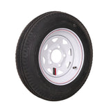 "12"" White Spoke Trailer Wheel 480/12 Tire Mounted (5x4.5) Bolt Circle"