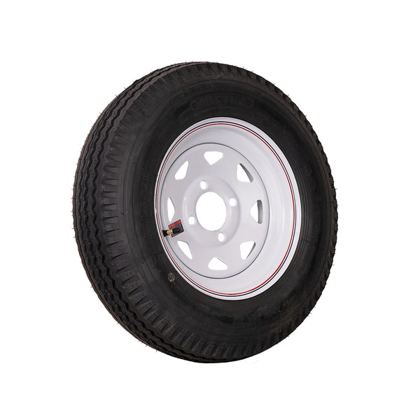 "12"" White Spoke Trailer Wheel 530X12 Tire Mounted (4x4) Bolt Circle"