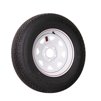 "15"" White Spoke Trailer Wheel ST205/75R15 Tire Mounted (5x4.5) bolt circle"