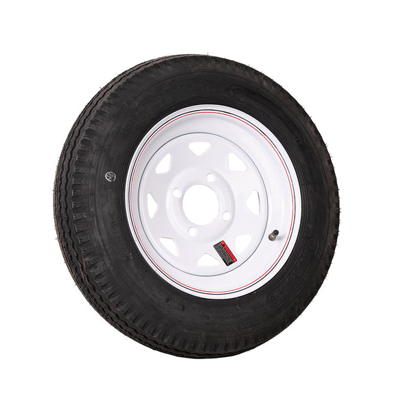 "12"" White Spoke Trailer Wheel 480/12 Tire Mounted (4x4) Bolt Circle"