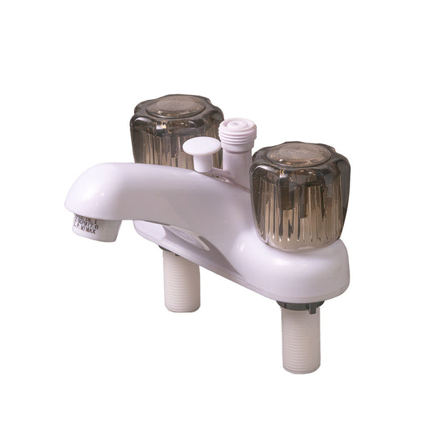 RV/Trailer/Camper Bath Tub Sink Faucet White with Smoke Handles