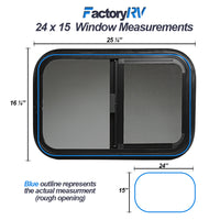 "ToughGrade Horizontal Sliding Black RV Window 24"" X 15"" X 1 1/2""Includes Mounting Ring and Screen"