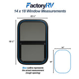 "ToughGrade Vertical Black RV window 14"" X 18"" X 1 1/2"" Includes Mounting Ring and Screen"