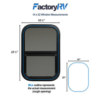 "ToughGrade Vertical Sliding Black RV window 14"" X 22"" X 1 1/2"" Includes Mounting Ring and Bottom Screen"