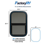"ToughGrade Vertical Sliding Black RV window 15"" X 22"" X 1 1/2"" Includes Mounting Ring and Bottom Screen"