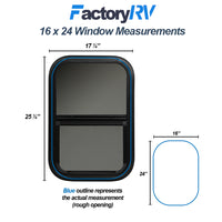 "ToughGrade Vertical Sliding Black RV window 16"" X 24"" X 1 1/2"" Includes Mounting Ring and Bottom Screen"