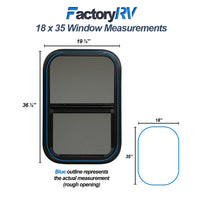 "ToughGrade Vertical Sliding Black RV Window 18"" X 35"" X 1-1/2"" Includes Mounting Ring and Bottom Screen"