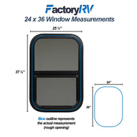 "ToughGrade Vertical Sliding Black RV Window 24"" X 36"" x 1-1/2"" Includes Mounting Ring and Bottom"