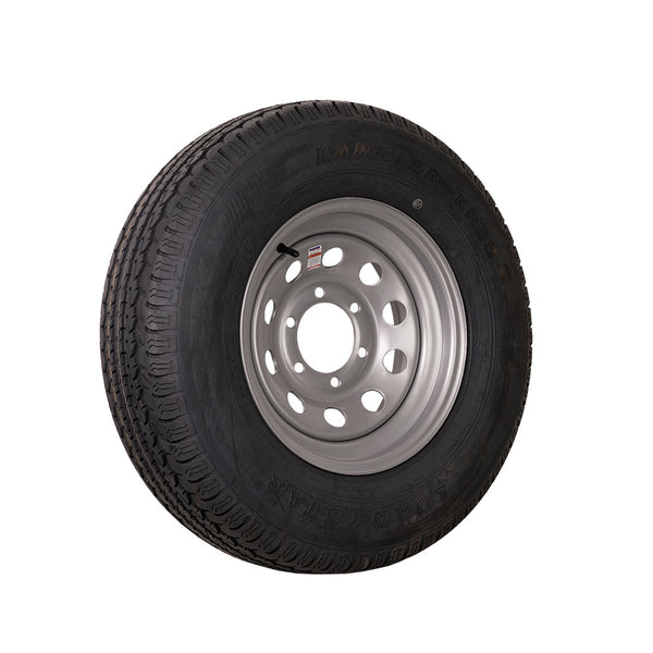 "FactoryRVSurplus 15"" Silver Mod Trailer Wheel ST225/75R15 Tire Mounted (6x5.5) Bolt Circle"