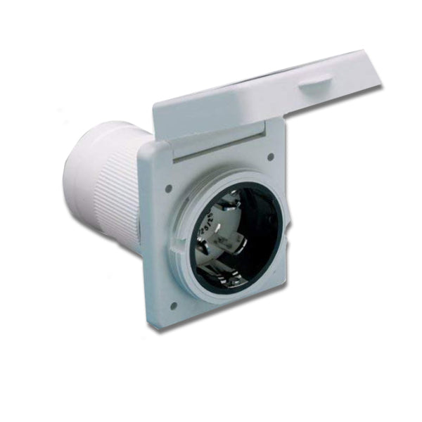 ParkPower 6353ELRV 50 Amp Locking Power Inlet, White