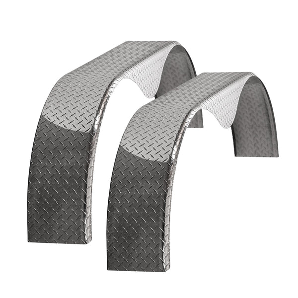 Tough Grade | Cargo Trailer Aluminum Diamond Plate Tandem Teardrop Fender 10x72x20 | 2 Pack