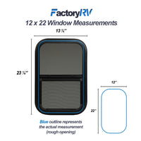 "ToughGrade Vertical Sliding RV window 12"" X 22"" X 1 1/2"" Includes Mounting Ring and Bottom Screen"