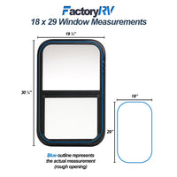 "ToughGrade Vertical Sliding Black RV Clear Window 18"" X 29"" X 1 1/2"" with Mounting Ring and Bottom Screen"
