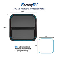 "Vertical Slide Black RV window 18"" X 18"" X 1 1/2"" Includes Mounting Ring and Bottom Screen"