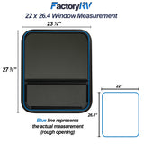 "Vertical Sliding Black RV window 22"" X 26.4"" X 1 1/2"" Includes Mounting Ring and Screen"