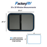 "ToughGrade Horizontal Sliding Black RV Window 30"" X 20"" X 1-1/2"" Includes Mounting Ring and Bottom Screen"