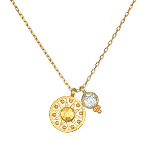 Satya Jewelry - Blue Topaz Sun Pendant Necklace