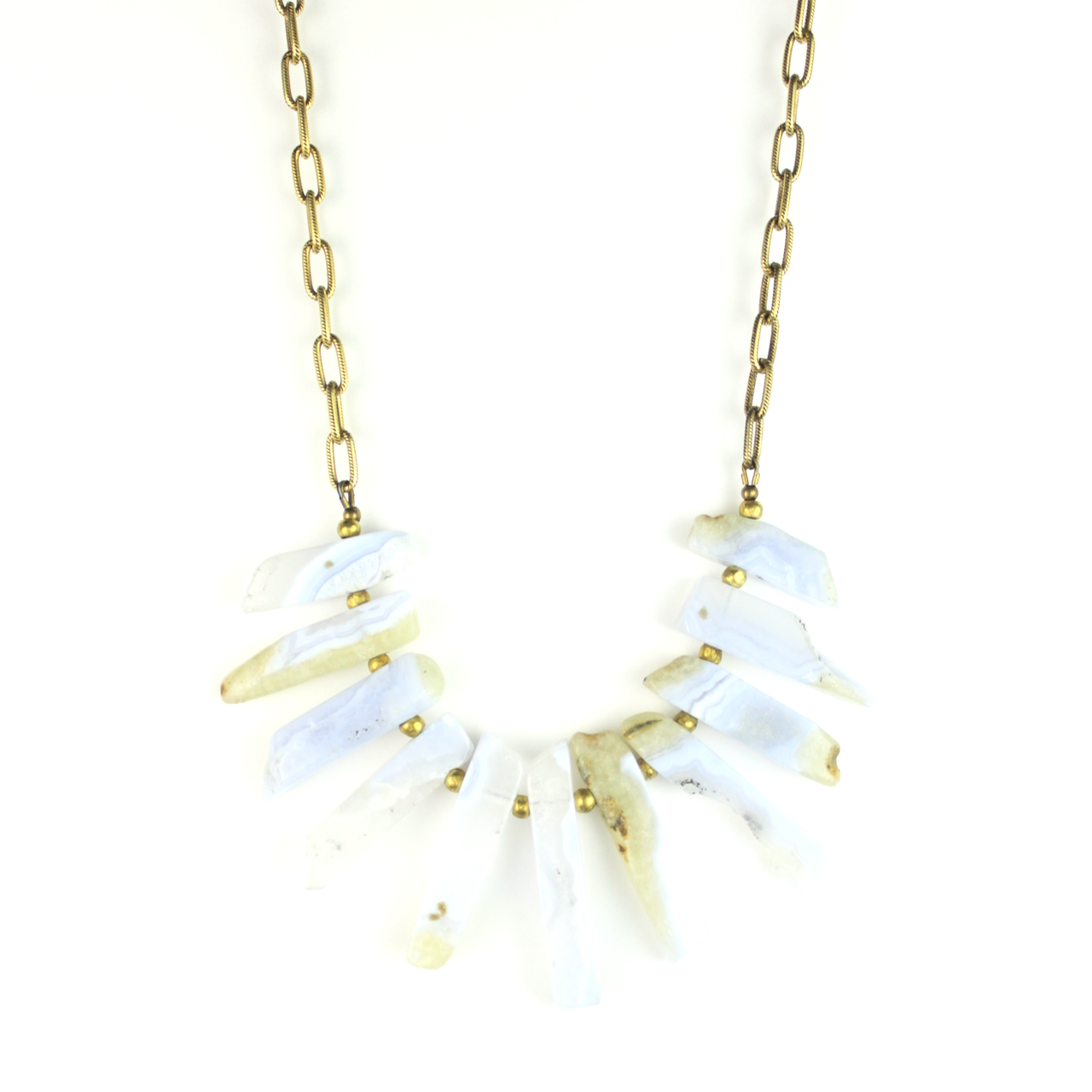 Bella Vita Jewelry - Natural Stone Bib Necklace | Blue Lace Agate