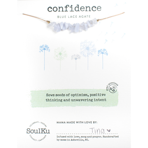 SoulKu - Blue Lace Agate Confidence Seed Necklace