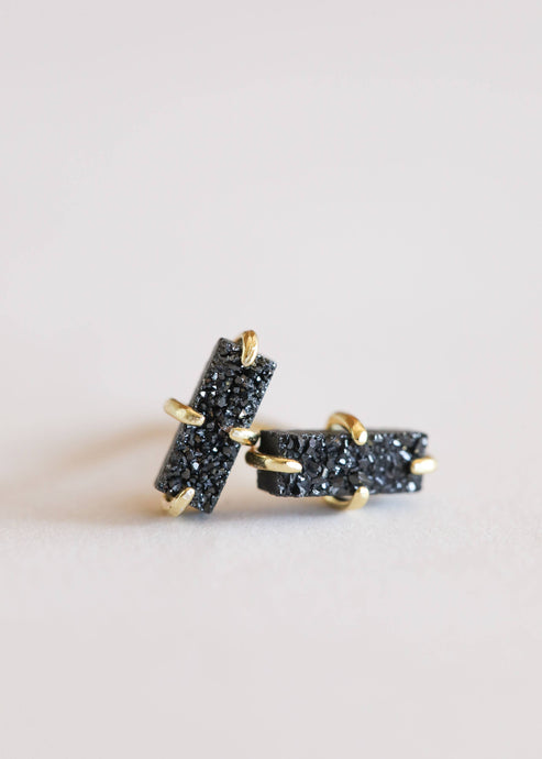 JaxKelly - Black Druzy Bar Stud