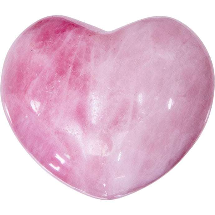 Puffed Gemstone Heart - Rose Qtz