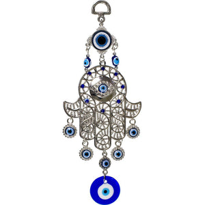 Glass Evil Eye Talisman Filigree Fatima Hand Hanging