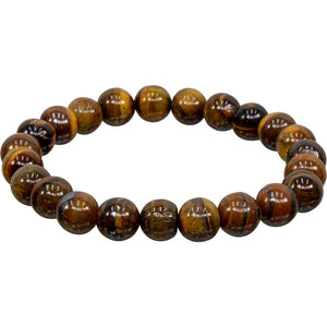 Elastic Bracelet 8mm Round Beads - Tiger Eye (Each)