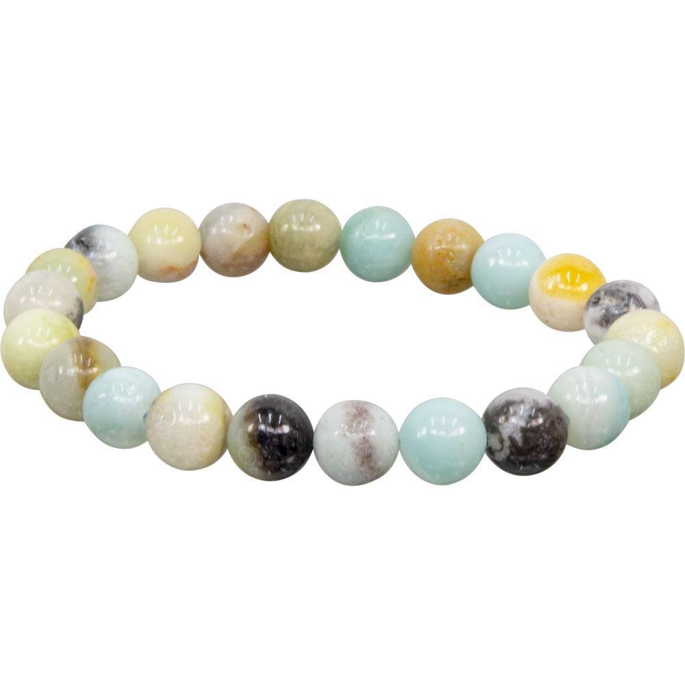 Elastic Bracelet 8mm Round Beads - Mixed Amazonite (Each)