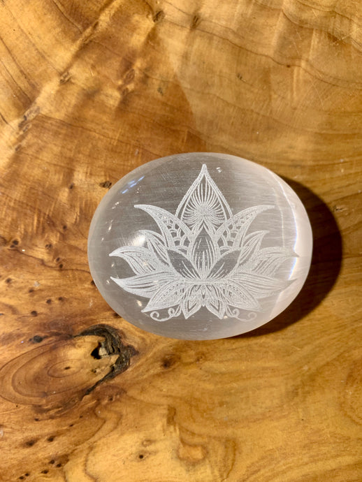Selenite Palmstone Laser Engraved Lotus Flower