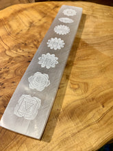 Load image into Gallery viewer, Zen and Meow - Selenite Platform Engraved Chakras