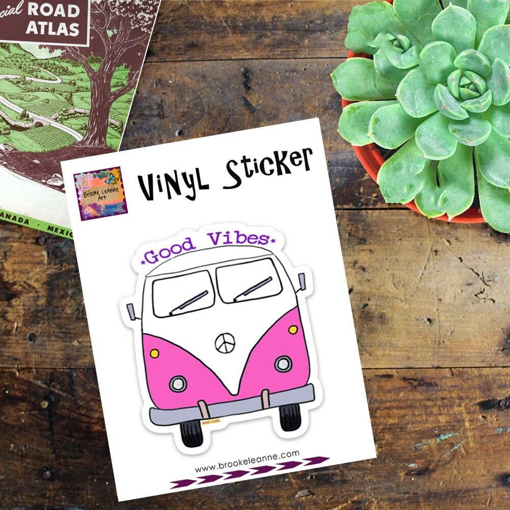 Brooke LeAnne - Good Vibe Bus Pink Vinyl Sticker