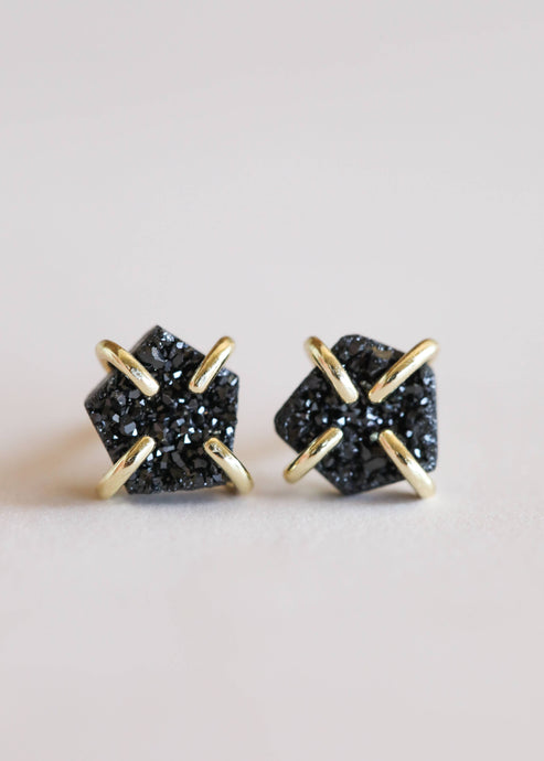 JaxKelly - Black Druzy Prong Earrings