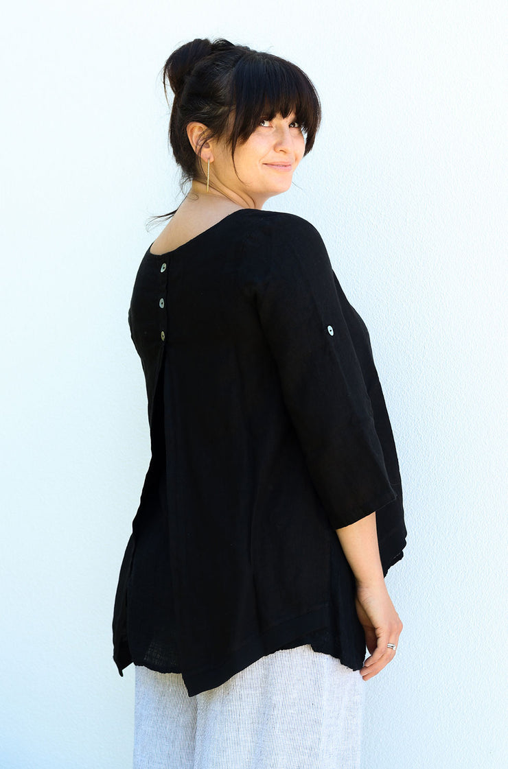 Athena Button Back - Black