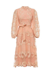 Victoriana Lace Midi Dress - Blush