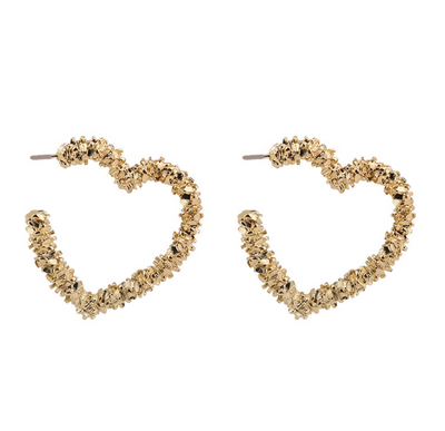 Beth Heart Eyes - Gold Earrings