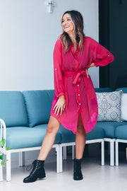 Diana Shirt Wrap Dress - Pink